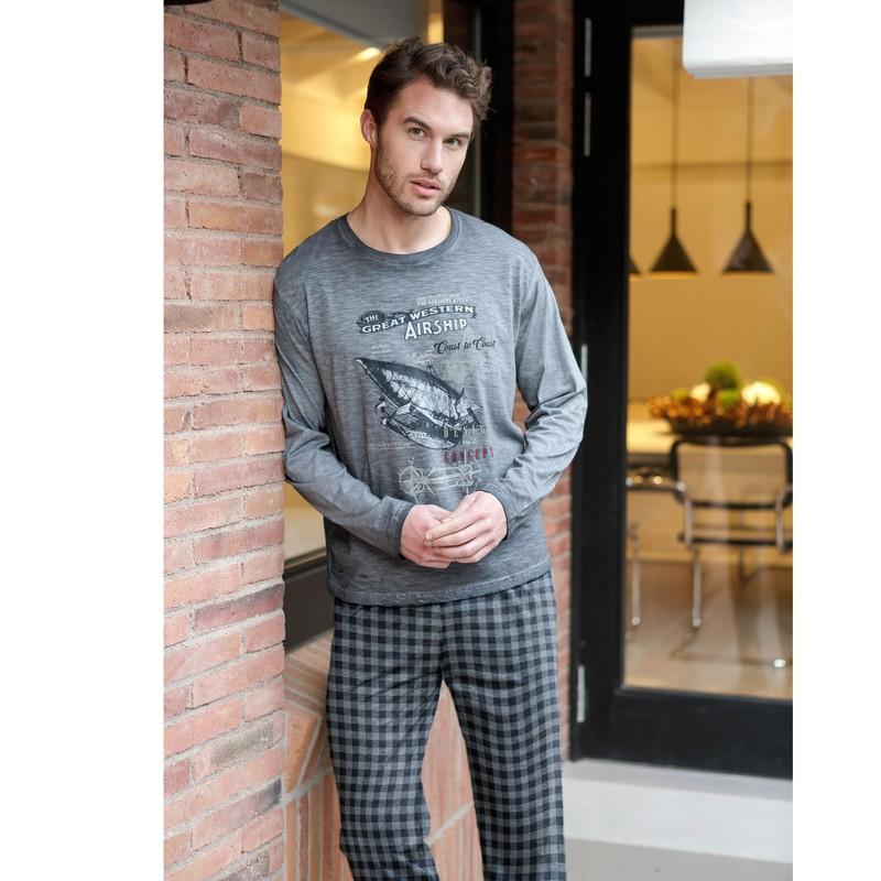 Pijama Hombre Camiseta DELAVADA 100/% Algodon MASSANA